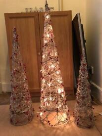Glittery festive cone shaped lights