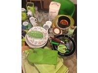 Kitchenware and two green stools. Suit someone setting up/student/first flat.