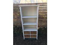 White Wood ,Wicker shelf unit with baskets
