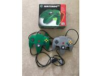 Nintendo 64 Controllers *Green and Grey with box*