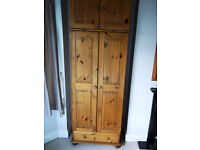 Solid pine double wardrobe with top box