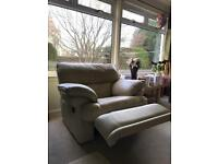 1 seater (recliner) and 2 seater (non recliner) cream leather sofa's