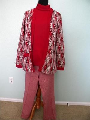 Vtg Ugly Xmas Sweater Party Polyester Womens Suit Plaid Red Green, Cousin - Cousin Eddie Sweater