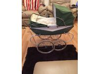 TRIANG vintage twin dolls pram green and white has some age related wear and tear condition 7/10