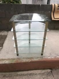 Glass 5 shelf's corner unit