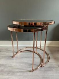 BRAND NEW SET OF COPPER SIDE TABLES RRP £148.90