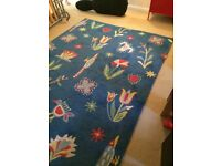 Large colourful Ikea Tise rug, 100% wool, 2m x 3m