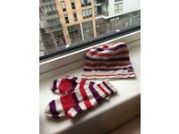 Pretty Fat Face Women / Ladies Knitted Stripy Hat & Gloves Set One Size