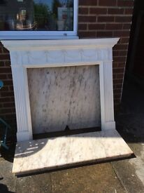 Marble hearth and back plate with plastic surround