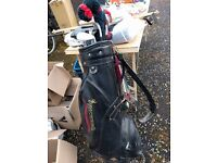 Golf clubs / vintage Browning golf bag, used