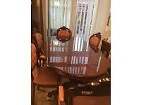 Vintage Italian dining table Burr wood