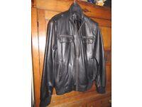 "Jacket Leather New Unused Black Chest size 42"""