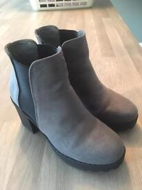 Grey suede boots size 5