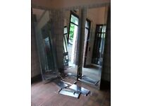 Saloon mirrors ×3 , wall mount, stainless aluminium frame, interior lights, shelf and foot rest.