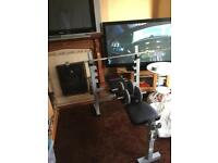 Bench, dumbbells and cast iron weights 170kg