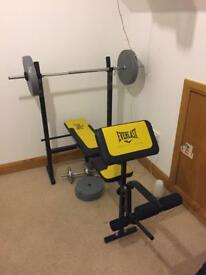 Everlast Weight Lifting Bench with Weights and Bar - Like New
