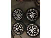 4x 17 inch BMW fitment Inter Action 5x120 Dished Alloy Wheels