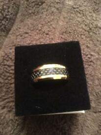Tungsten carbide gold plated ring with carbon fibre inlay