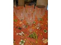 Set of Four Beautiful Cut Crystal Wine Glasses