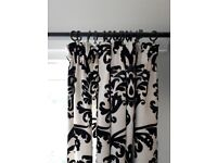 Curtains, black and white pattern, high quality. With matching pole and wall art painting