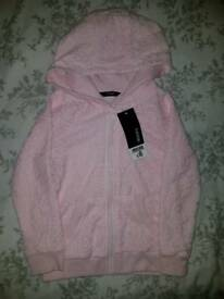 Girls pink lacey hoody. Age 5/6 years. BNWT