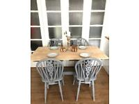 """OAK TABLE AND CHAIRS FREE DELIVERY LDN🇬🇧SHABBY CHIC VINTAGE """"Grey"""""""