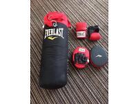 Everlast boxing gloves, pads, punch bag & bracket