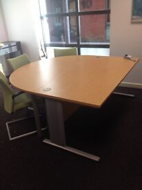Desk and Meeting Table - Half round meeting table fits perfect with square desk