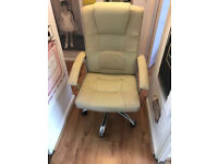 CREAM LEATHER LOOK CHAIR