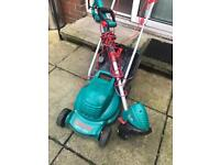 bosch electric lawnmower and strimmer