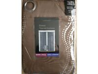 """90 X 90"""" curtains chocolate brown with silver/chrome pattern"""