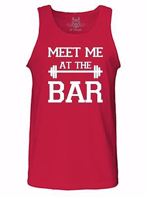 NW MEN'S PRINTED MEET ME AT THE BAR FUNNY GYM SPORTS HIPSTER DESIGN TEE TANK