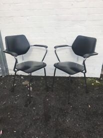 Black leather and chrome chairs