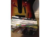 Xbox 360 guitar controller and games