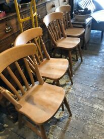 4 X PINE DINING CHAIRS FARMHOUSE COUNTRY STYLE SOLID WOOD