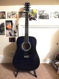 Beautiful Indigo Blue Acoustic Guitar Freshman