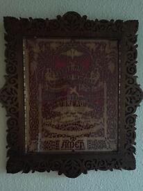 Beautiful antique carving of the Lord's Prayer / perfectly framed picture / church / christian