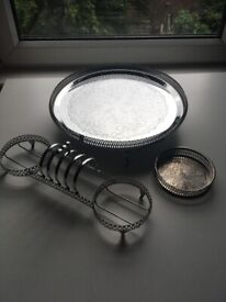 Gorgeous silver ornate tableware items x3