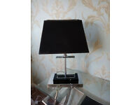 Glass Table Lamp with chrome and black base black shade
