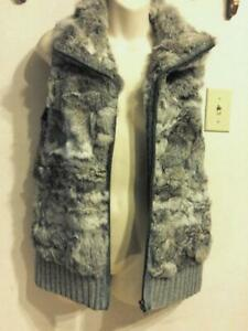 REAL FUR VEST Long Large 12 Gray Waistcoat Womens L Rabbit Real Fur Hides Ladies Soft warm