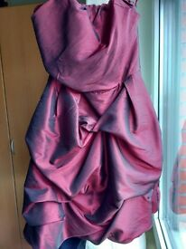 Burgundy Silk Taffeta Dress