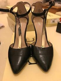 Next T-bar gold and black heels size 5