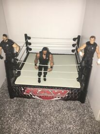 WWE figures and ring (11 super stars