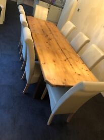 One off solid wood tables and 8 chairs