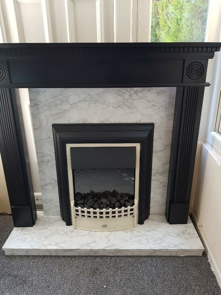Groovy Marble Fireplace With Electric Fire And Surround In Bradford West Yorkshire Gumtree Interior Design Ideas Tzicisoteloinfo