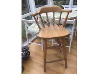 Pine tall kitchen stool