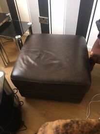 3 seater brown leather sofa and stool in good condition buyet needs to uplift