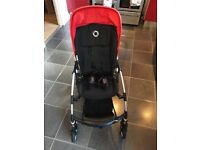 Bugaboo Bee, red. Inc matching cocoon, footmuff, seat cover, raincover. Good condition.