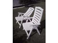 Outdoor garden reclining chairs - white plastic