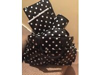 Brand new black & white spotty changing bag & accessories